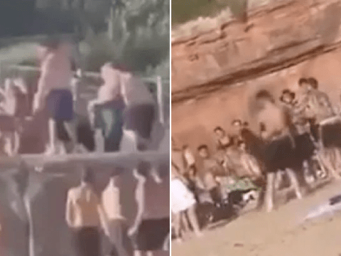 Mass brawl 'of 200 people' breaks out on beach as Britain bakes