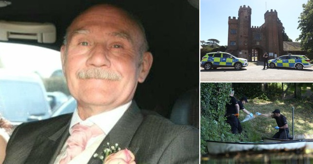 Charlie Hilder, 66, collapsed on the land of Lullingstone Castle in Eynsford, Kent, after a dispute with the two young men on the bank of the private fishing lake near the weir last Thursday.
