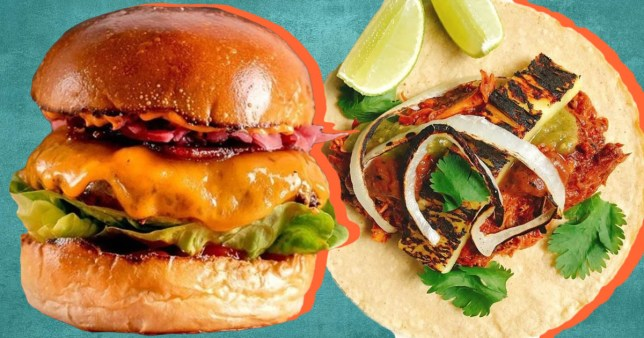 close up of burgers and tacos