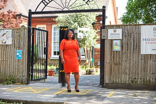 Andrea Parker  outside the gates of Bonneville, Jessop and Stockwell primary schools