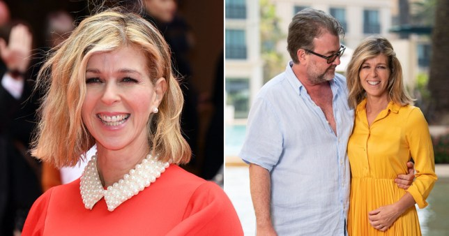 Kate Garraway pictured on the red carpet and with her husband Derek Draper