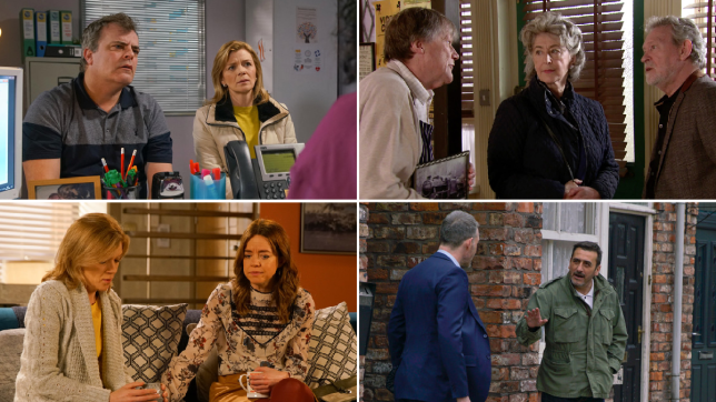 Steve, Leanne, Roy, Evelyn, Arthur, Toyah, Peter and Nick in Coronation Street
