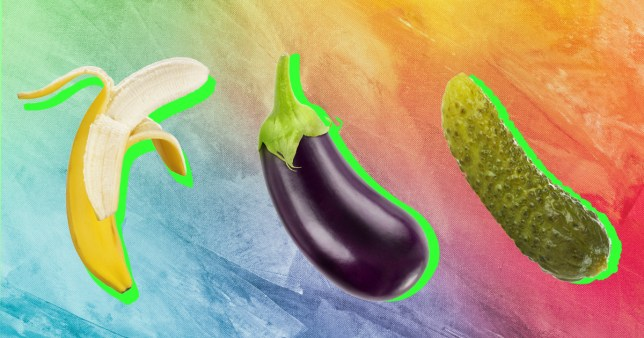 Photo of a banana, an aubergine, a gherkin