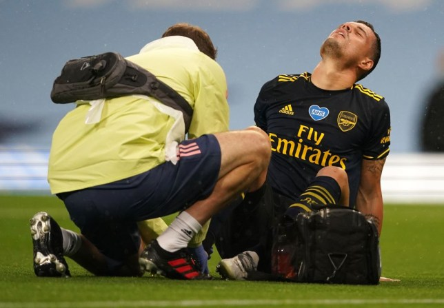 Granit Xhaka suffered an ankle injury five minutes into Arsenal's match against Man City