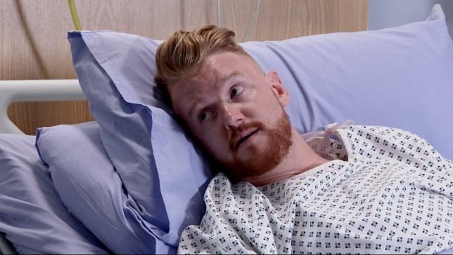 Gary in hospital in Coronation Street
