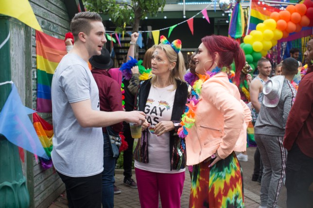 Callum, Kathy and Whitney in EastEnders