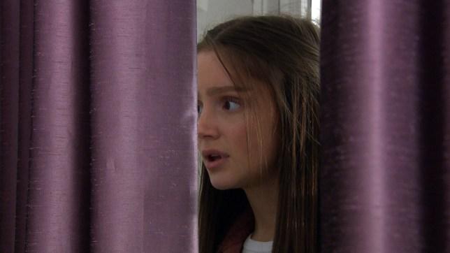 Sarah hides in Emmerdale