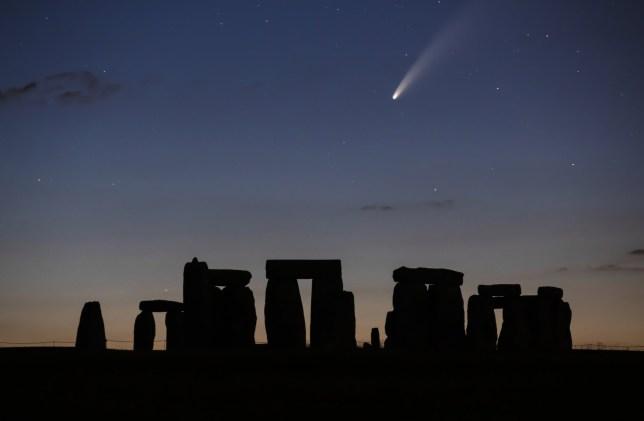 Comet NEOWISE over Stonehenge