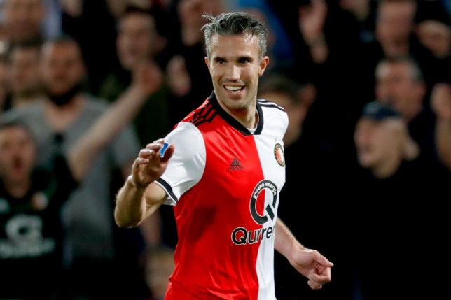 ROTTERDAM, NETHERLANDS - APRIL 20: Robin van Persie of Feyenoord celebrates 2-1 during the Dutch Eredivisie  match between Feyenoord v AZ Alkmaar at the Stadium Feijenoord on April 20, 2019 in Rotterdam Netherlands (Photo by