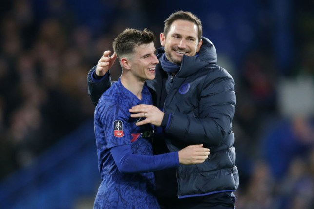 Mason Mount and Frank Lampard of Chelsea celebrate after their sides 2-0 win during the FA Cup Fifth Round match between Chelsea FC and Liverpool FC at Stamford Bridge on March 03, 2020 in London, England.