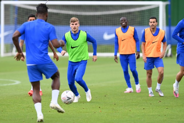 Timo Werner runs with the ball in Chelsea training at Cobham