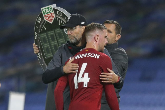 Jordan Henderson suffered a knee injury during Liverpool's win over Brighton earlier this week