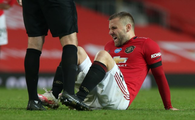 Luke Shaw suffered an ankle injury during Man Utd's 2-2 draw against Southampton