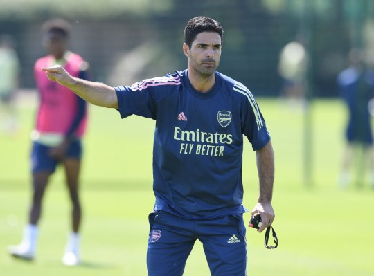 Arsenal Head Coach Mikel Arteta during a training session at London Colney on July 31, 2020 in St Albans, England.