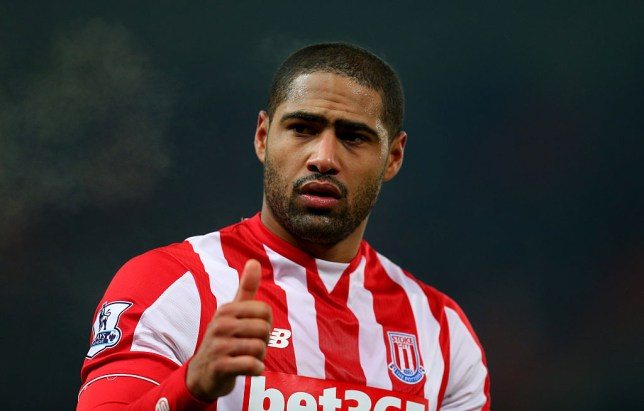 A thumbs up from Glen Johnson of Stoke City during the Barclays Premier League match between Stoke City and Arsenal at the Britannia Stadium on January 17, 2016 in Stoke-on-Trent, England.