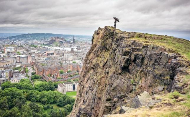 Looking over Edinburgh in the rain