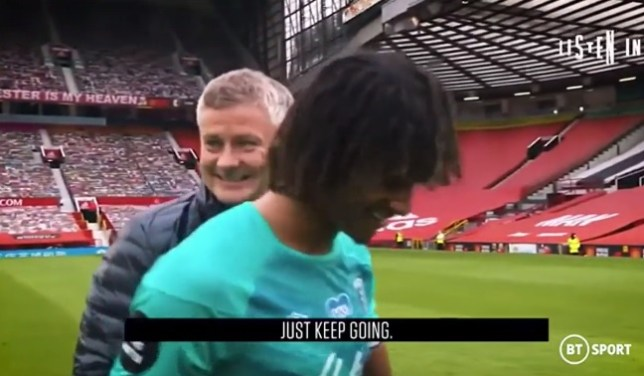 Ole Gunnar Solskjaer spoke briefly with Nathan Ake after Manchester United's win over Bournemouth