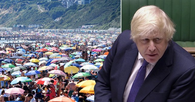 Picture of packed Bournemouth beach an Prime Minister Boris Johnson (right)d