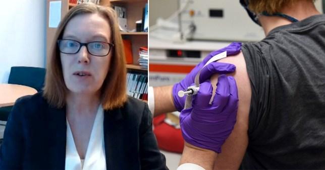 Oxford University scientist Professor Sarah Gilbert (left) and testing for a coronavirus vaccine (right)