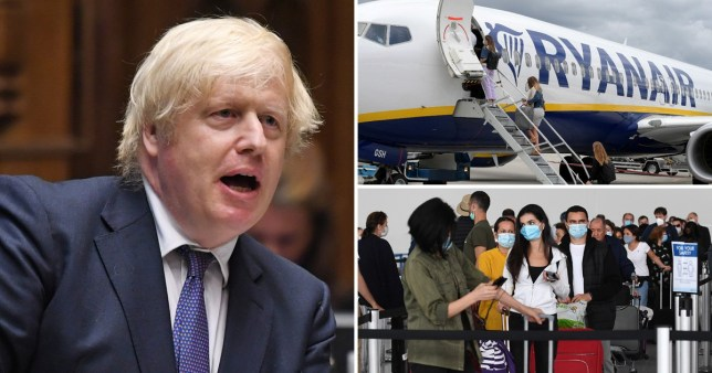 Prime Minister Boris Johnson a Ryanair flight and airline passengers waiting to travel on holiday