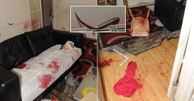 Pictures of the blood-stained room