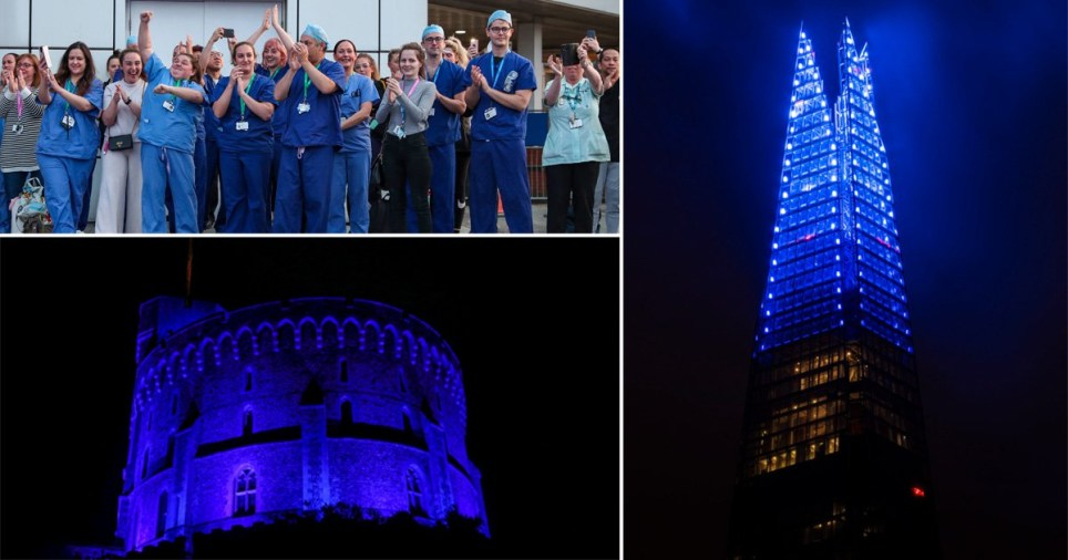 NHS staff taking part in the weekly Clap for Carers (top right) and Windsor Castle and The Shard illuminated blue in tribute to the health service before it celebrates its 72nd birthday on the weekend of July 4, 2020