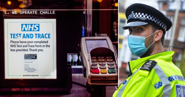 An NHS Test and Trace poster at the bar of a Wetherspoon pub (left) and a police officer wearing a face mask