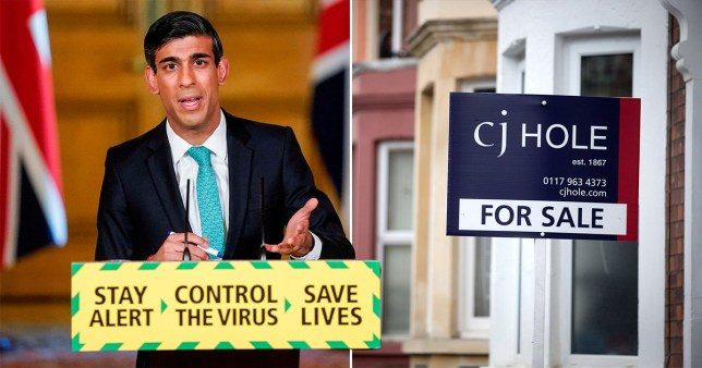 UK Chancellor Rishi Sunak at a coronavirus Downing Street press conference (left) and cj Hole for sale sign outside a house