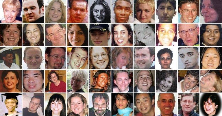 50 of the 52 victims of the London bombings of July 7, 2005