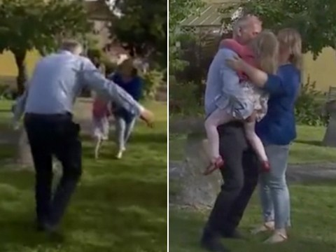 Care home workers tearfully reunite with their families after 12 weeks apart