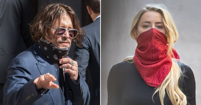 Johnny Depp pictured separately alongside Amber Heard