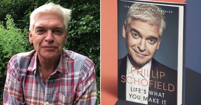 Phillip Schofield pictured in his garden alongside book cover for autobiography Life's What You Make It