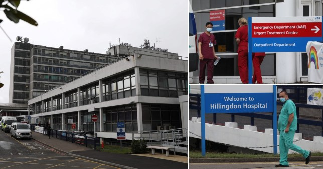 Photo of Hillingdon Hospital and staff on the premises with face masks