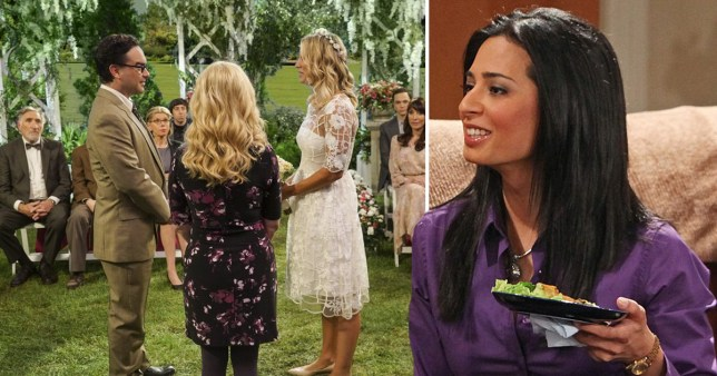 The Big Bang Theory stills of Leonard and Penny getting married and Raj's sister Priya