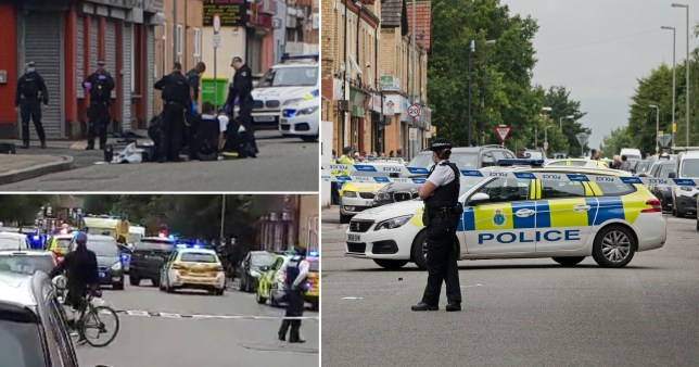 Crime scene after an armed woman was shot by police in Liverpool
