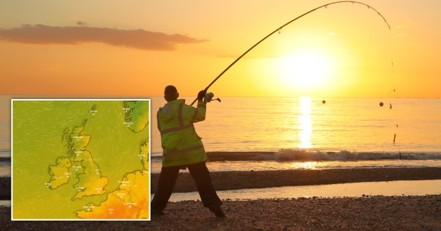 Person fishing in the sun