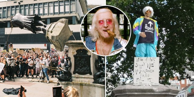 Mannequin of Jimmy Savile replaces toppled statue of slave owner Edward Colston