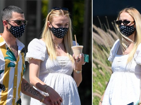 Sophie Turner displays baby bump in cute summer dress as she and Joe Jonas rock his and her face masks