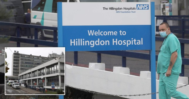 A nurse wears a face mask outside Hillingdon Hospital, west London, and another general view of the hospital, which serves Prime Minister Boris Johnson's constituency