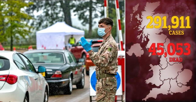 A soldier works at a drive-through coronavirus test centre (left) and a death toll map on July 15, 2020