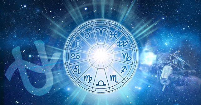 Star signs on blue background