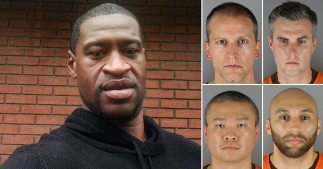 Composite image of George Floyd and the officers that are charged in relation to his death