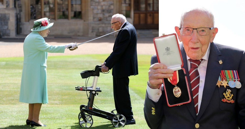 Composite image of Sir Tom Moore being knighted