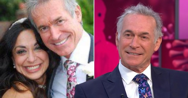 Dr Hilary Jones pictured with wife on wedding day and on Good Morning Britain