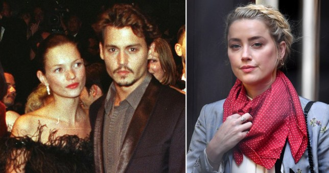 Johnny Depp pictured with Kate Moss alongside picture of Amber Heard at high court