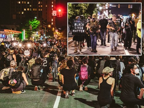 Second night of unrest after Donald Trump used armed agents against protesters