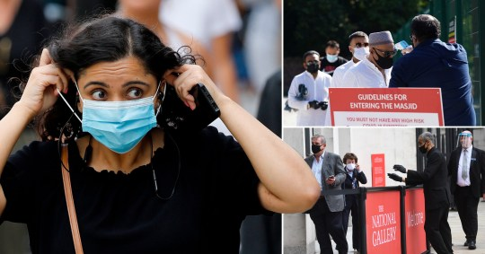 Pictures of people wearing face masks in public