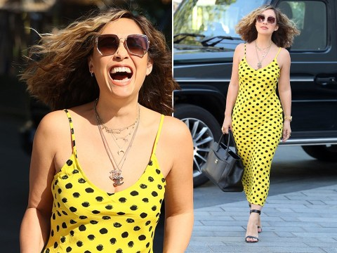 Myleene Klass goes full 80s in yellow spotted dress for work during UK heatwave