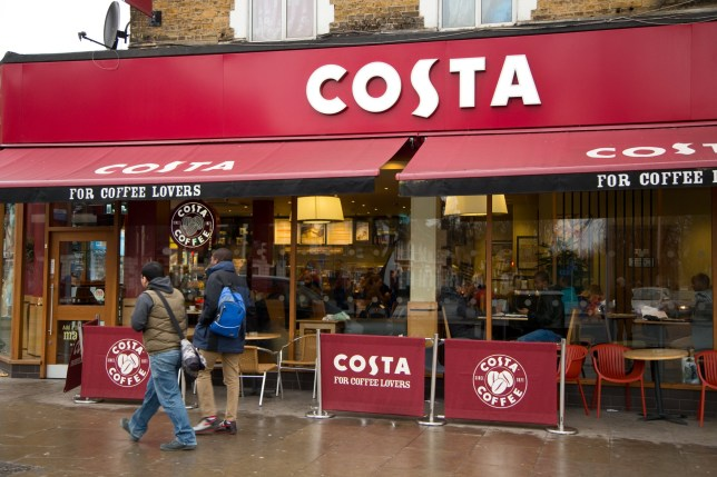The exterior of a Costa coffee shop in London, UK