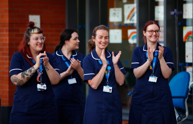 Nurses taking part in NHS Clap For Carers
